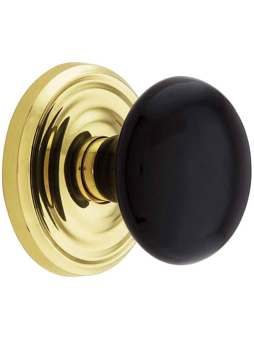 Classic Rosette Set With Black Porcelain Door Knobs   House of ...