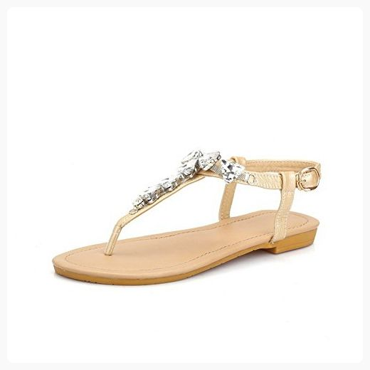 e7f5d4097542 AmoonyFashion Women s Buckle Split Toe No Heel Cow Leather Studded Sandals