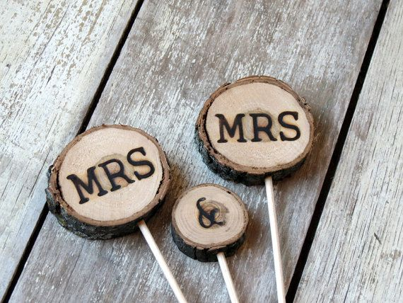 Gay Wedding Rustic Wedding Cake Topper / MRS & by alifesosimple