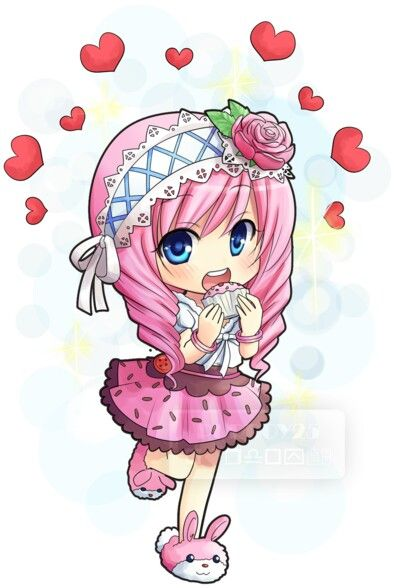 Anime Chibi Girl Pink Cupcake Cute Anime Chibi Anime Chibi Chibi Girl