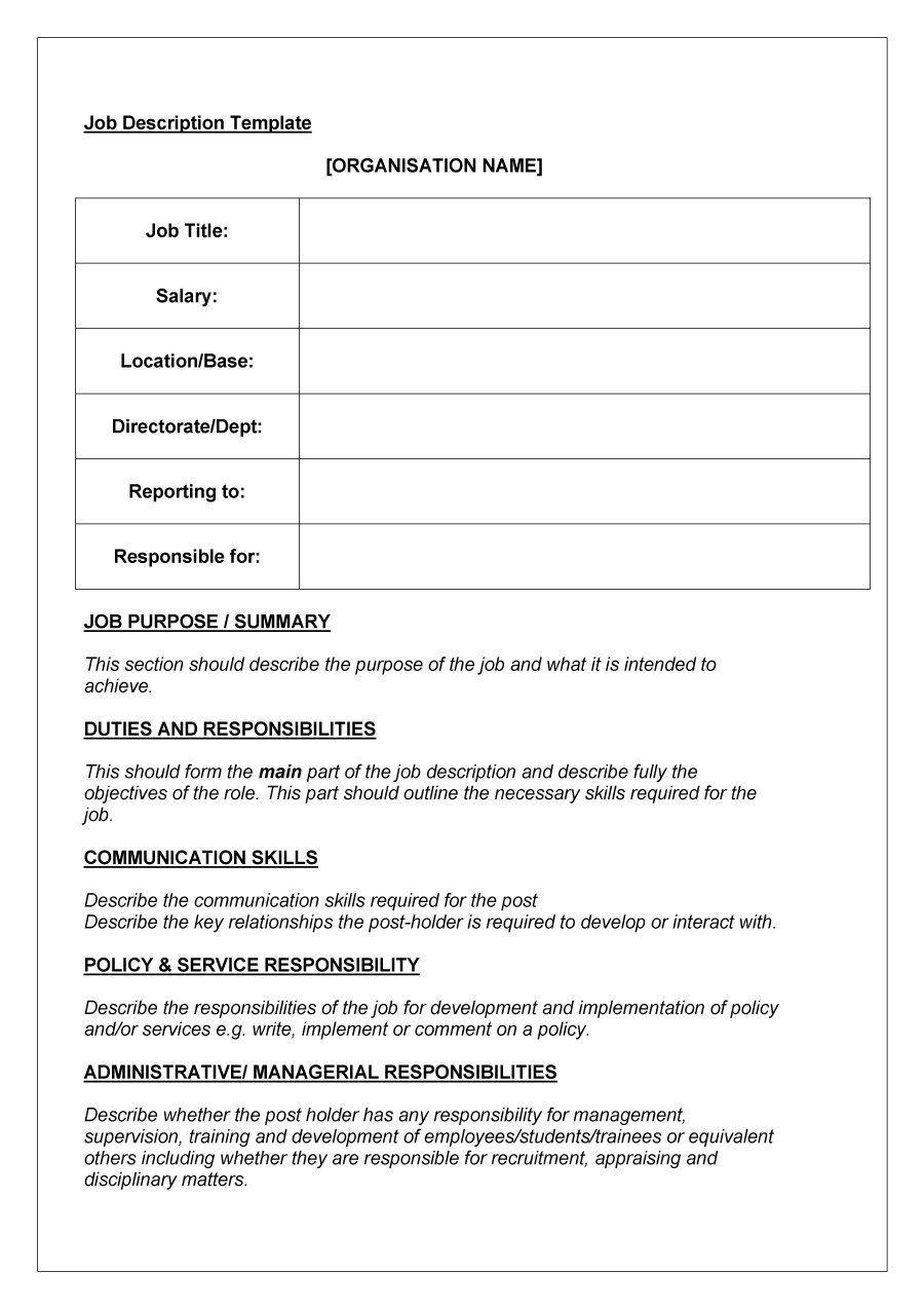 Job Description Template Job description template, Job