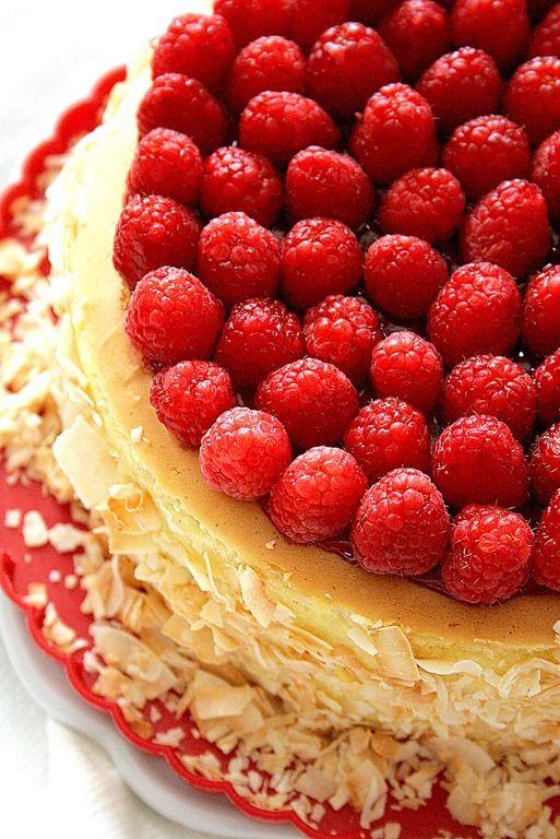 toasted raspberry coconut cheesecake