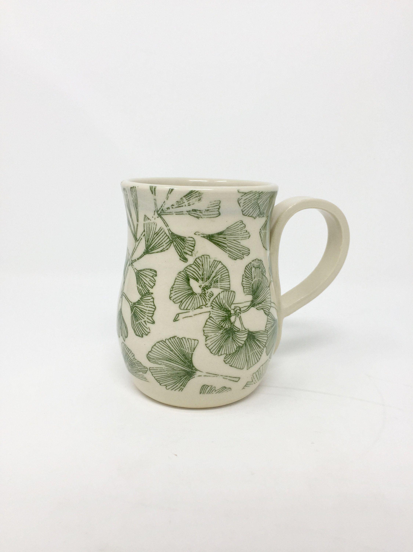 Handmade GINKGO LEAF Coffee Mug Stoneware
