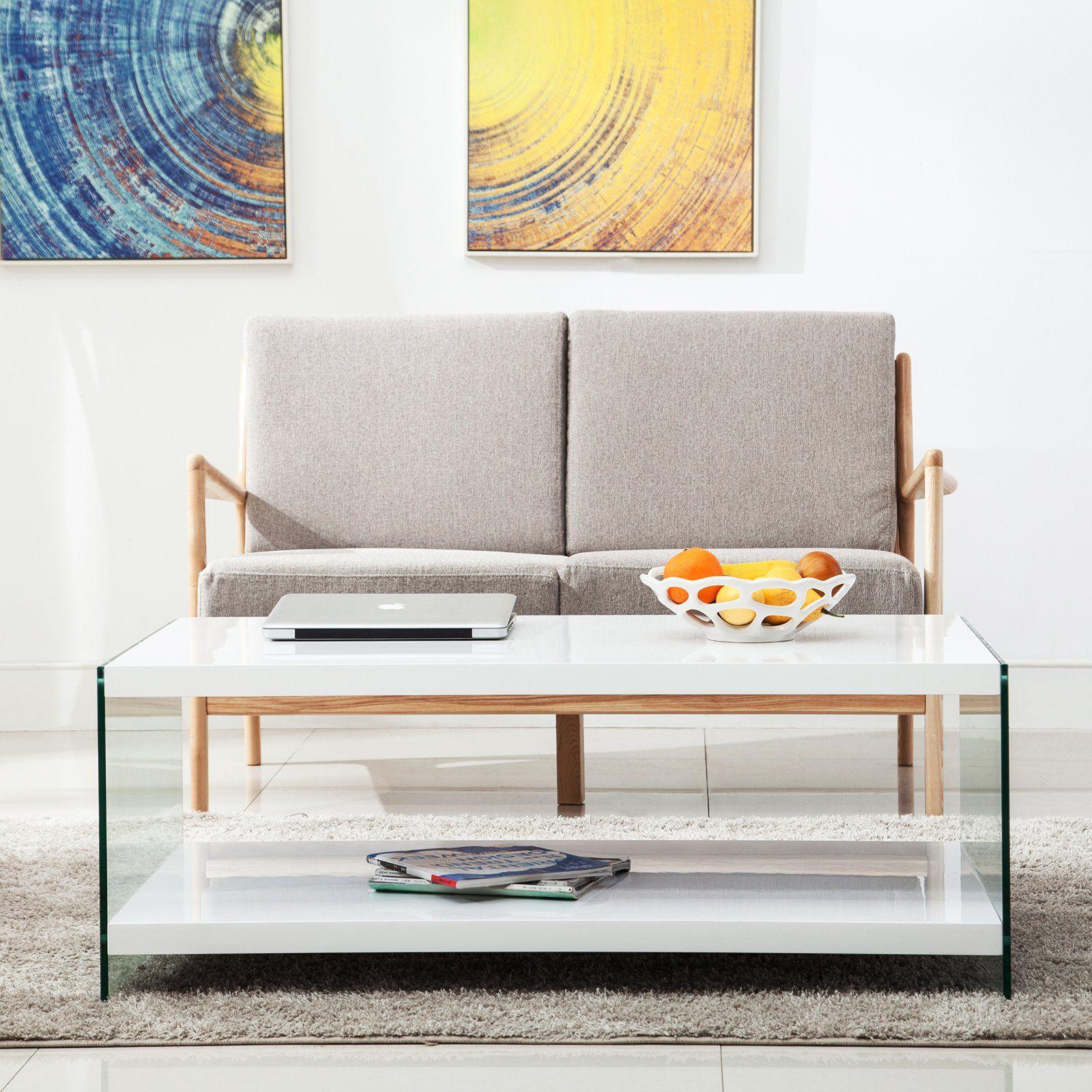 Mecor Coffee Table Modern Mdf Two Tier Rectangular Tea Table With Storage Bottom Shelf Home Office Furniture Coffee Table Home Office Furniture Home Decor [ 1600 x 1600 Pixel ]