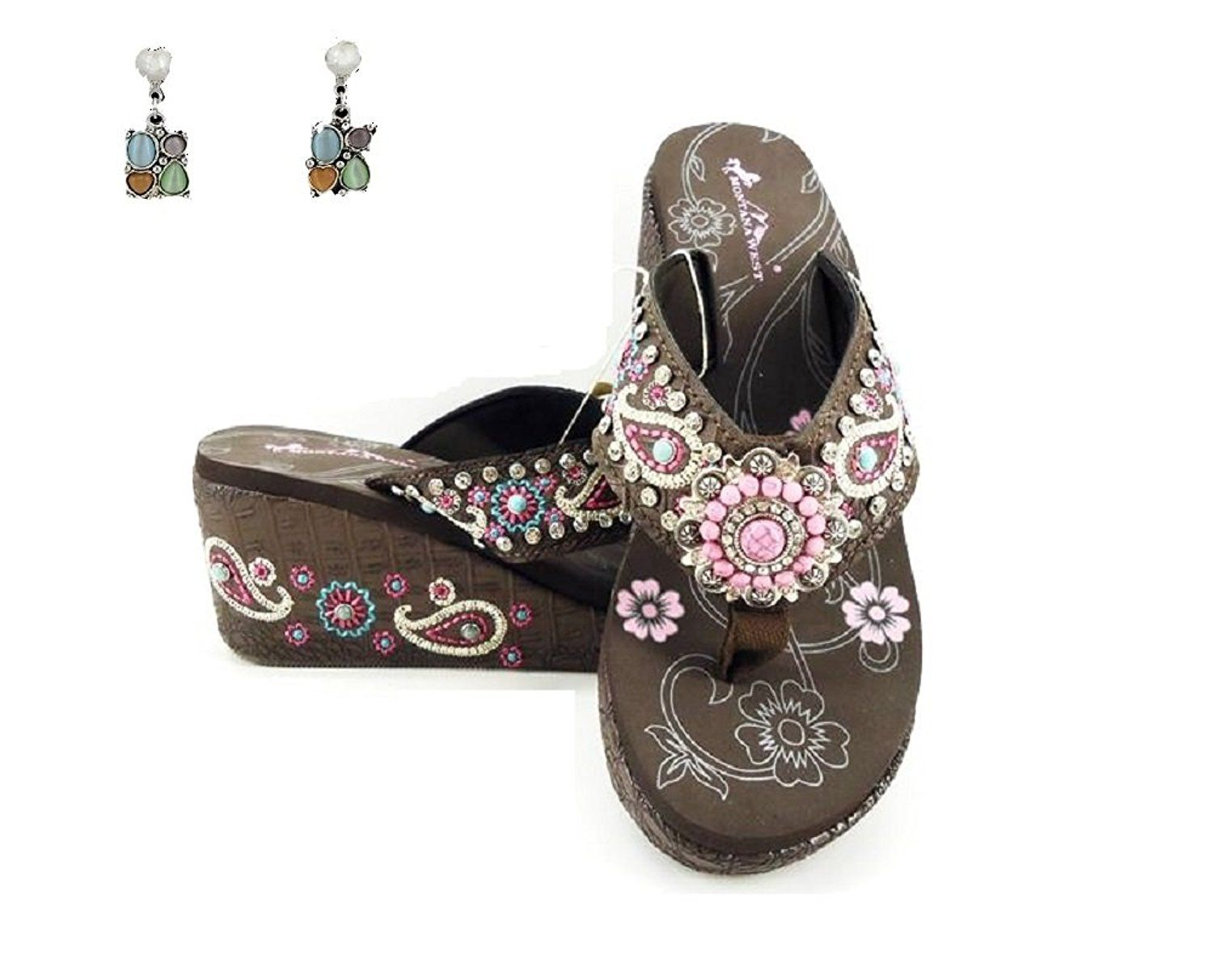 8fb0467bd255 Montana West Aztec Concho 3  Wedge Paisley Flip Flop Sandals Earrings Jp --  You can find more details by visiting the image link.