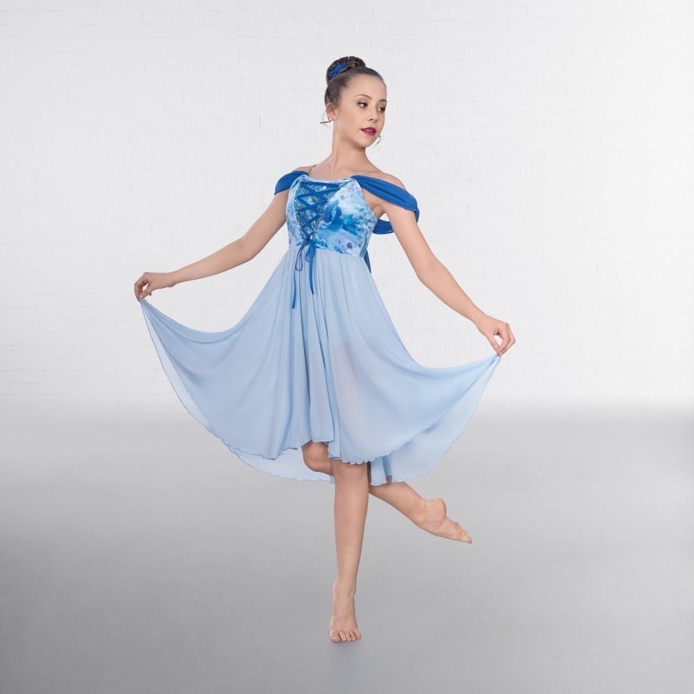 1st Position Blue Tie Dye Sequin Asymmetric Lyrical Dance Dress