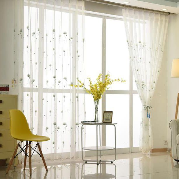 Elegant White Dandelion Embroidery Sheer Curtains Sheer Curtains