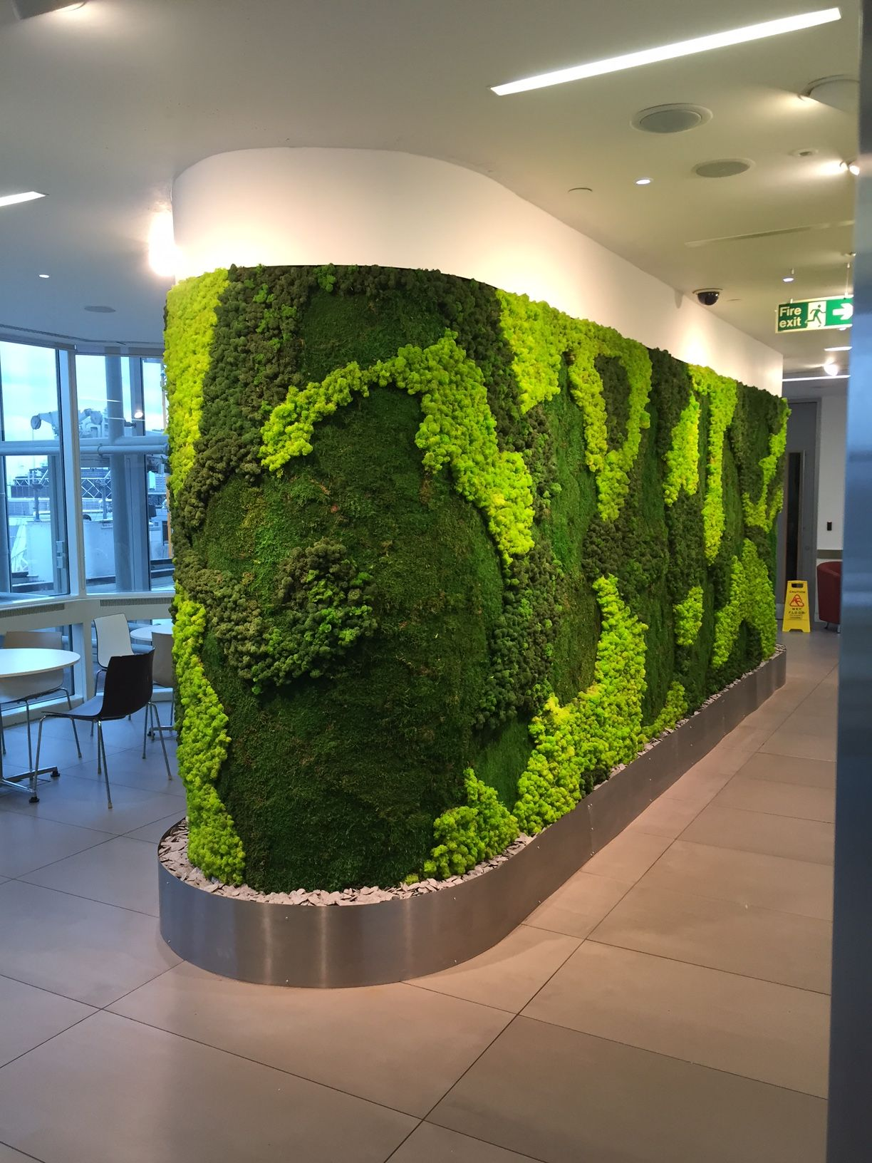office gardening. new 15m2 moss wall in central london office gardening p