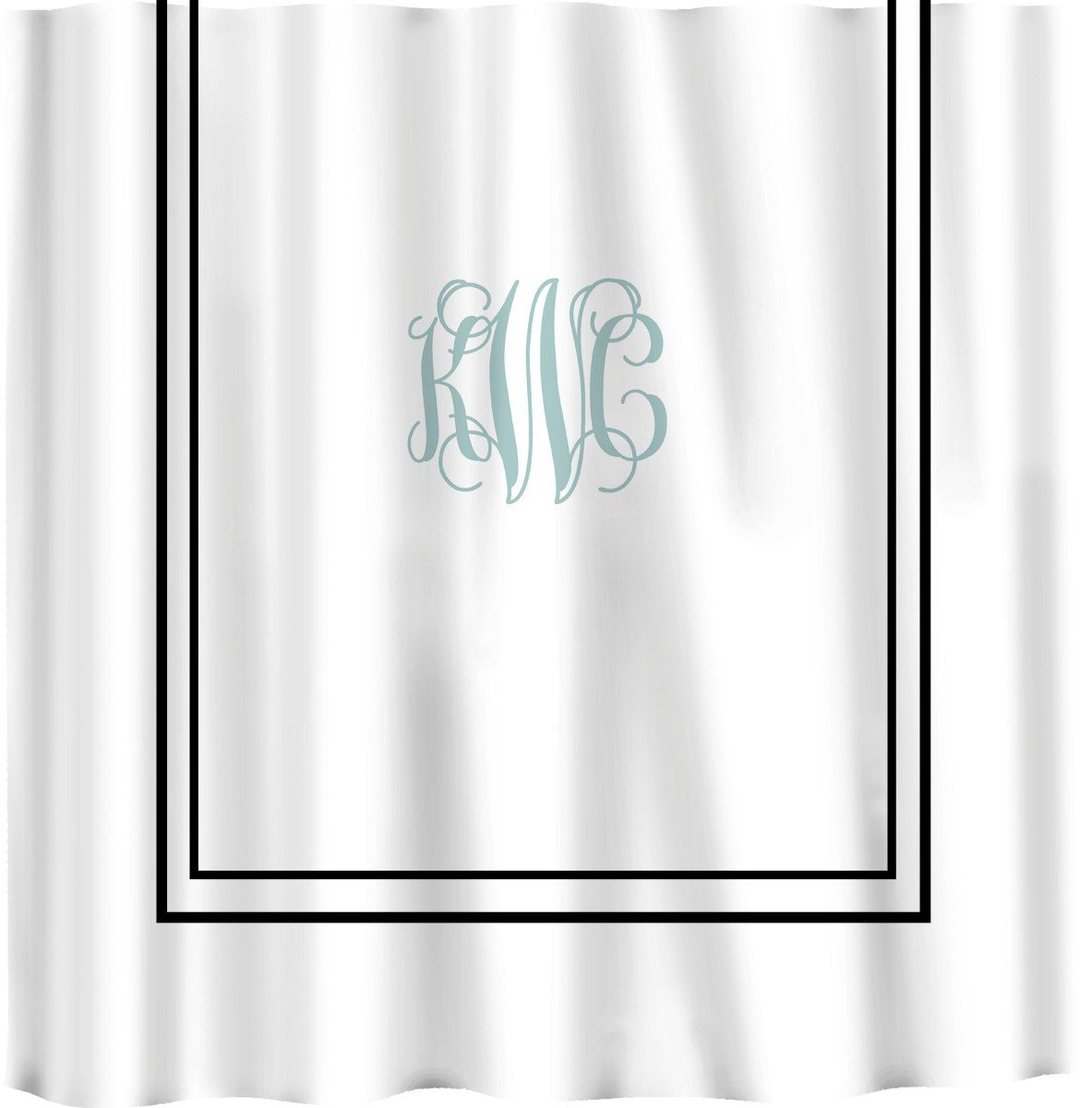 Custom Shower Curtain Simplicity In White Or Bottom Band Solid With Monogram Your Colors