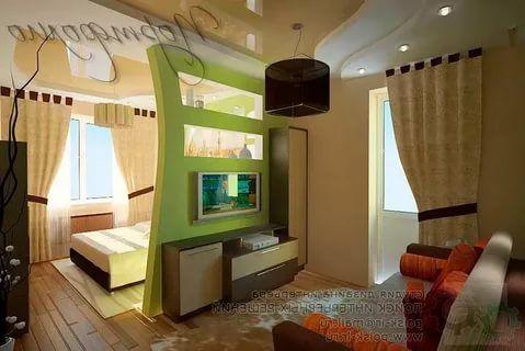 зонирование комнаты с помощью перегородки из гипсокартона ...