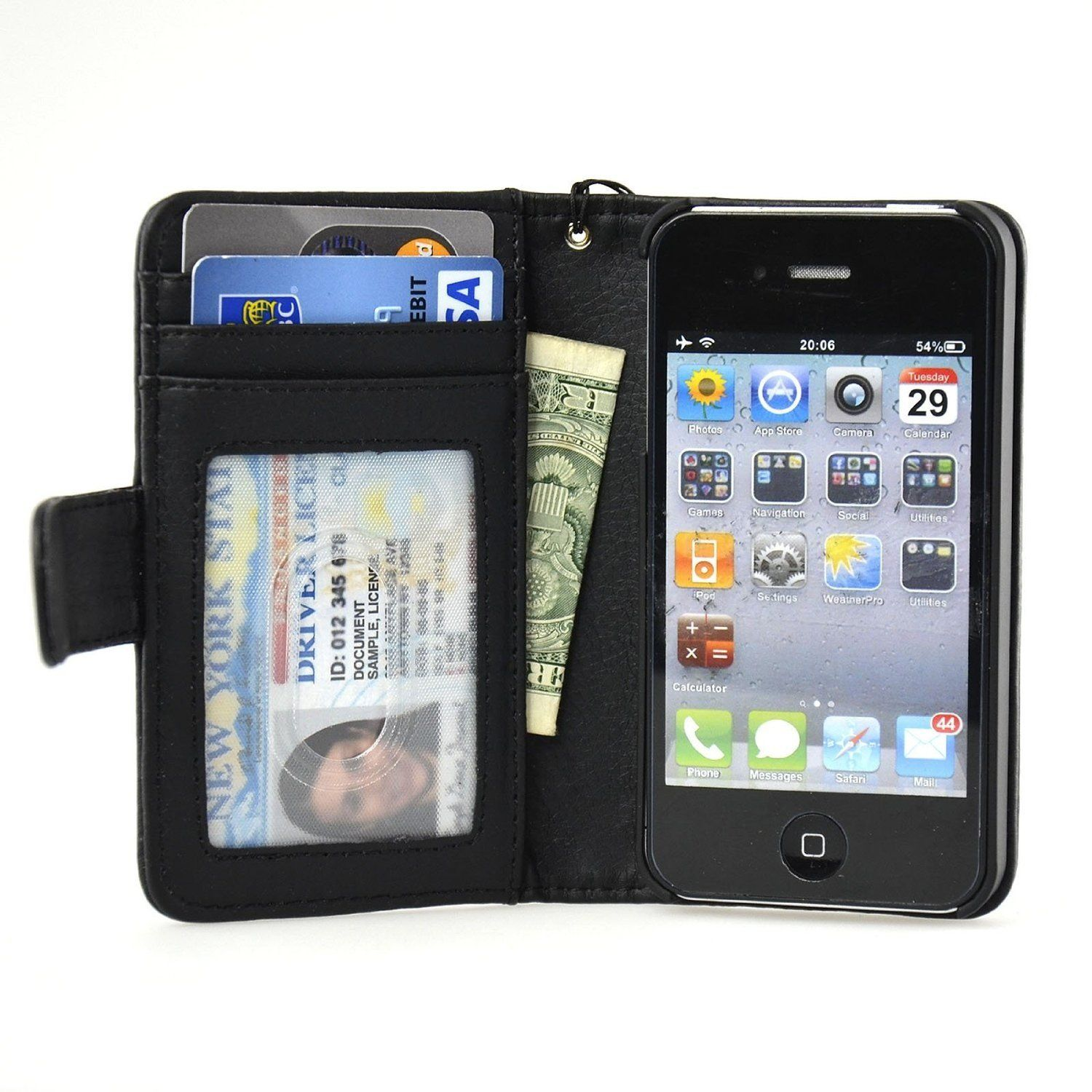 Iphone 44s wallet case navor iphone leather case