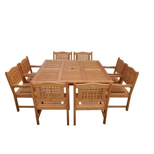 Amazonia Milano Square 9-Piece Porto Set by Amazonia. $1668.98. 1 square table 58w x 58d x 29h 8 armchairs 23w x 19d x 35h. 100-Percent FSC certified. Free feron gard wood preservative for longest strap durability. it works great against the effects of air pollution salt air, and mildew growth. for best protection, perform this maintenance every season or as often as desired. Solid eucalyptus wood and galvanized steel hardware. Brown color. Great quality, styl...