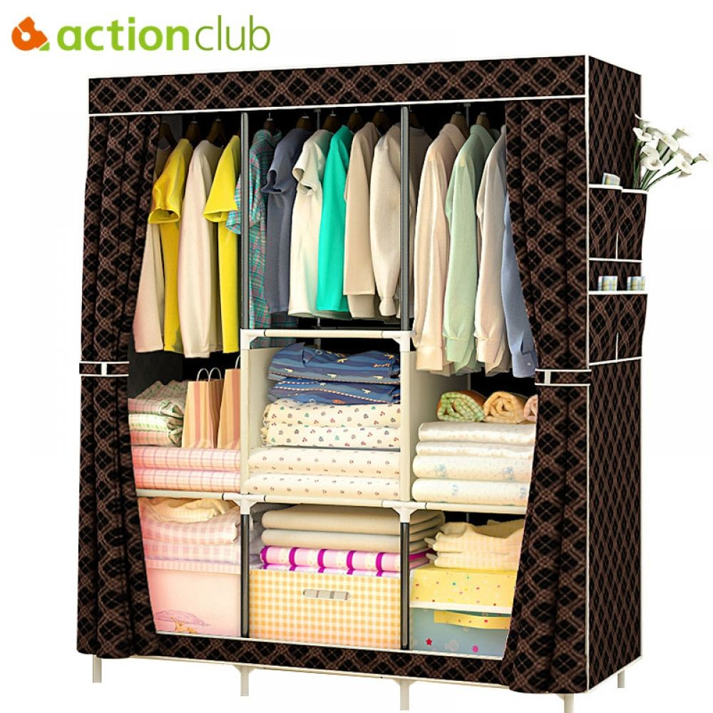 Actionclub Non Woven Multifunction Wardrobe Closet Furniture Fabric Large Wardrobe Portable Folding Cloth Storage Cabinet Locker In 2020 Portable Wardrobe Closet Closet Furniture Portable Closet