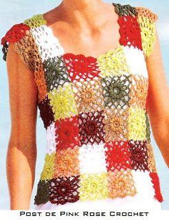PINK ROSE CROCHET : Blusas Coloridas com Squares e Hexágonos de Crochê