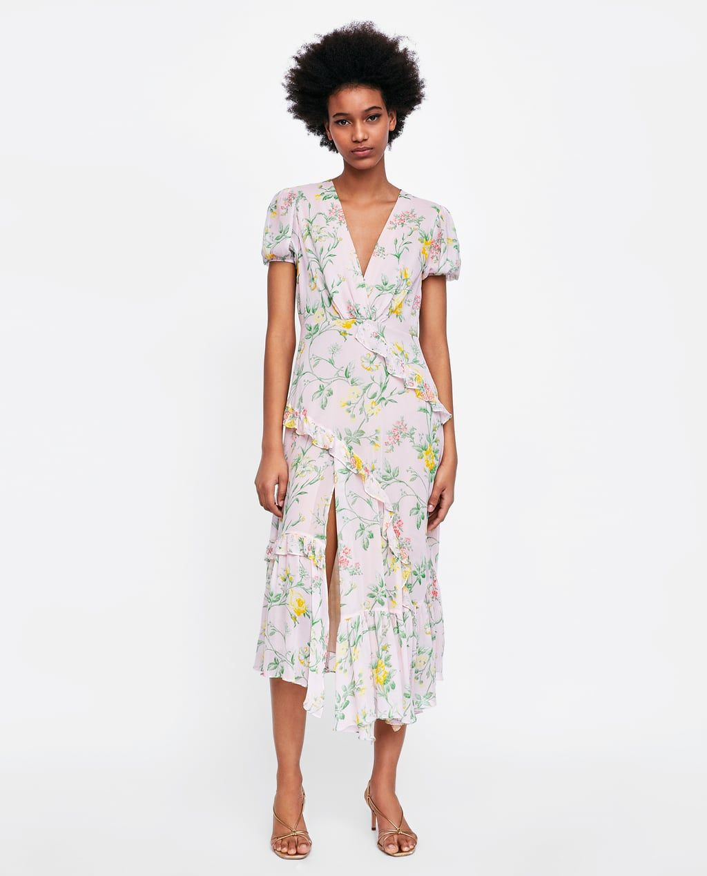 ZARA - WOMAN - RUFFLED FLORAL PRINT DRESS  Blumendruck kleider