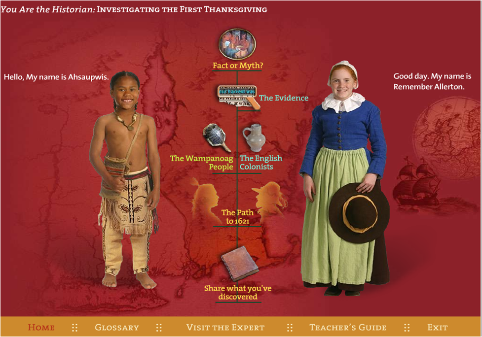 Free Online Interactive exploration of first Thanksgiving