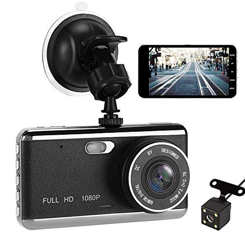 Dash Cam, VIKASI 1080P Front and Rear Dual Dash Camera with Full HD 4″ LCD Screen, 170° Wide Angle Lens Dashboard Camera with G-Sensor, Loop Recording, Rear View and Motion Detection #wideangle