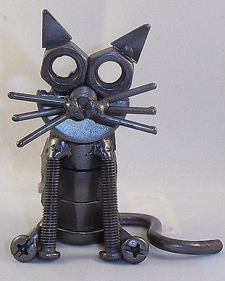 Cat Hand Crafted Recycled Metal Art Sculpture Figurine Recycled Metal Art Welding Art Scrap Metal Art