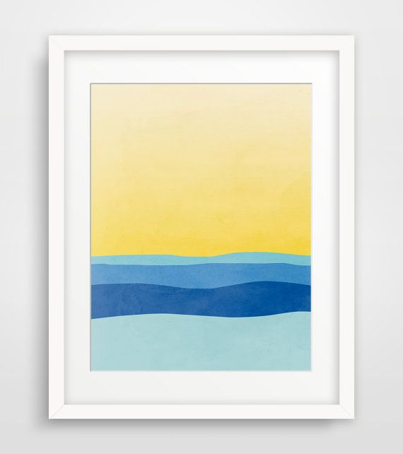 Beach Decor Wall Art, Modern Abstract Art Print, Minimalist Art ...