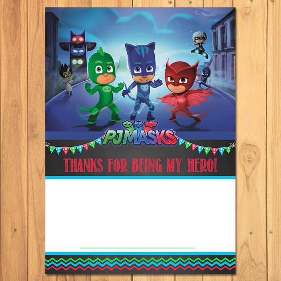 Pj Masks Thank You Card Chalkboard Instant Download Birthday Printables Thanks Party Favors