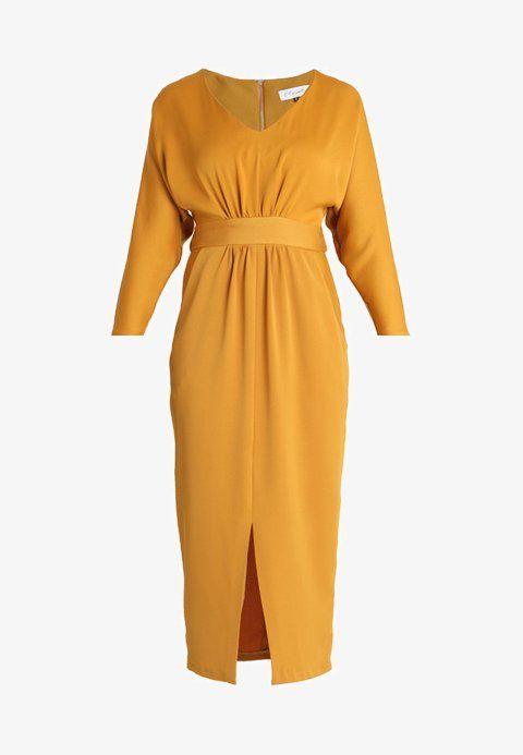 1245015954f Closet CLOSET GATHERED WAIST TULIP DRESS - Maxikjole - mustard - Zalando.no