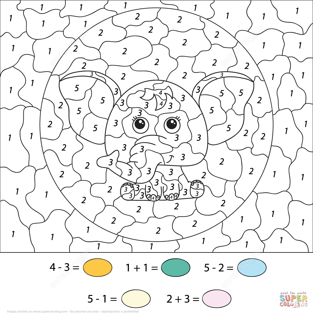 Elephants Color Number Printable Coloring Pages Subtration