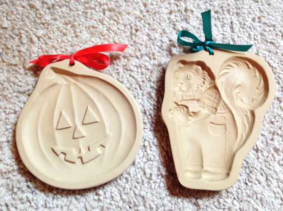 Squirrel Pumpkin Molds Ceramic Cookie Paper Chocolate, Lot of 2 80-90's Brown Bag