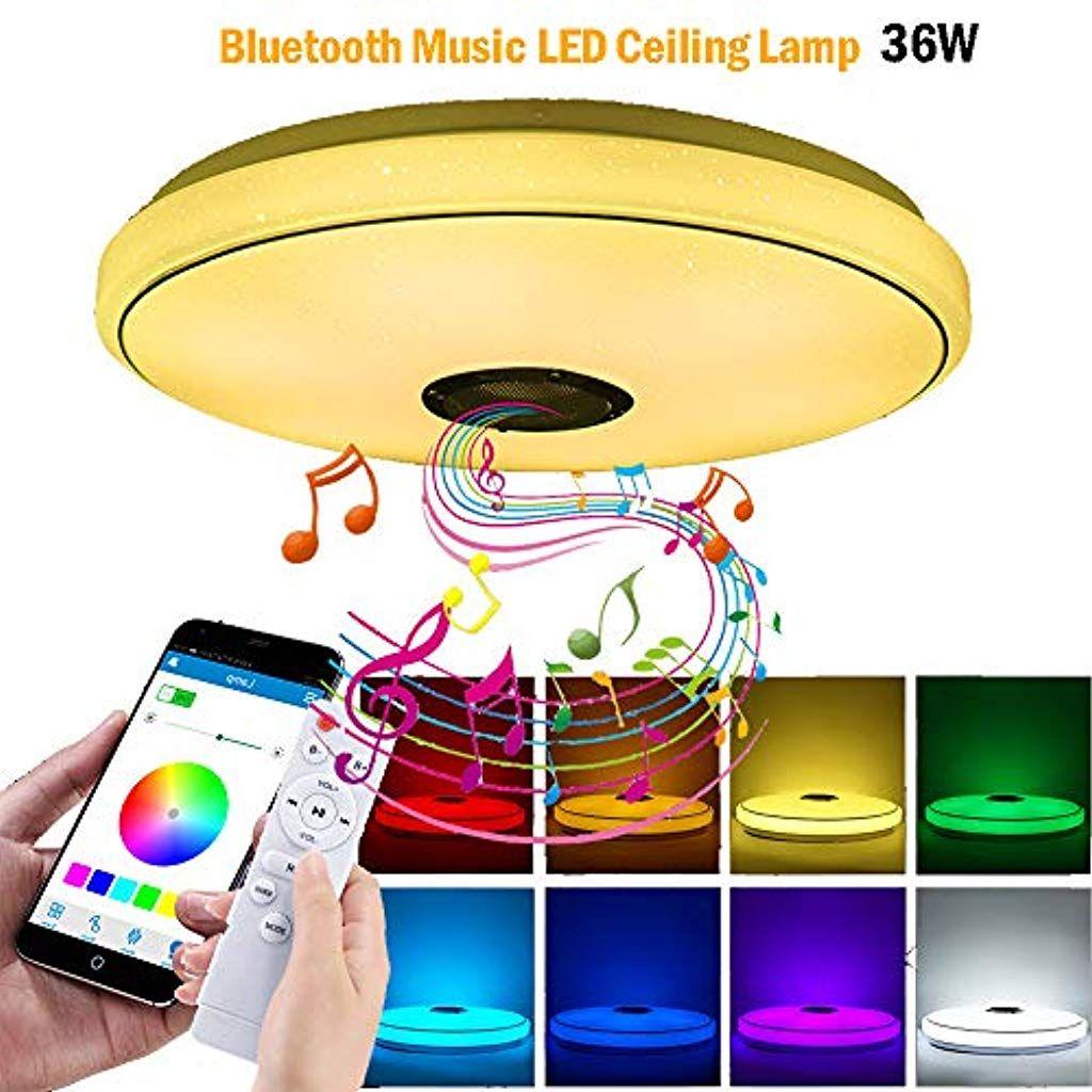 Allomn Led Deckenleuchte Bluetooth Musik Deckenleuchte Dimmbar Rgbw Farbwechsel Licht Mit Bluetooth Lautsprecher Ap Led Deckenleuchte Led Weihnachtsbeleuchtung