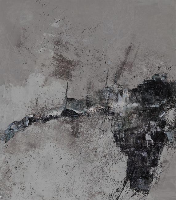 """Alexei Chekini--Из серии """"Чаньский дневник"""" Окончательный вариант  картон обработанный/акрилик, сажа 63см x 53см 2011 г."""