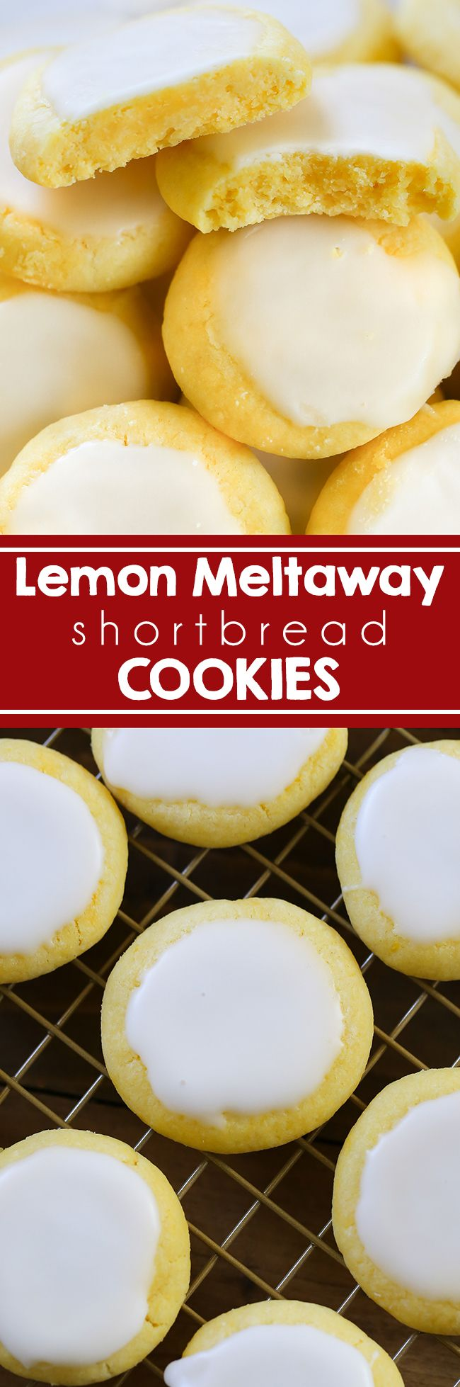 Lemon Meltaway Cookies - Quick and easy lemon meltaways. Cookie dough uses just a few ingredients including cornstarch.  Shortbread tea cookies #lemon #cookies #dessert