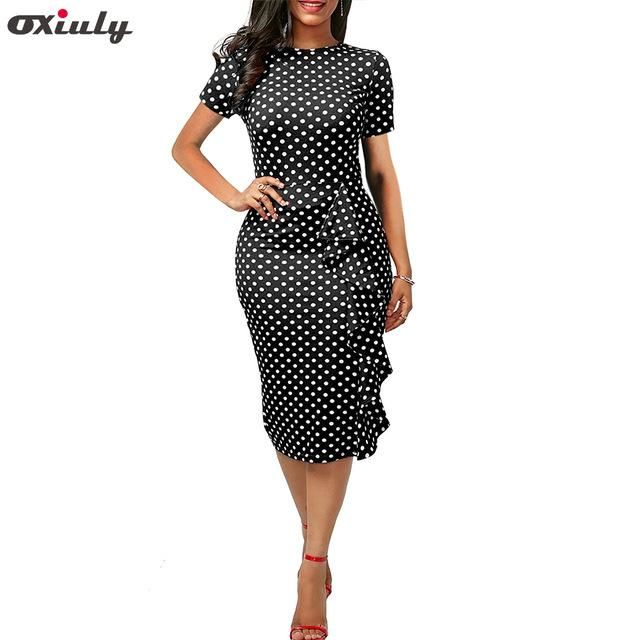 94b446d05c87 Oxiuly Plus Size 3XL 4XL Women Vintage Polka Dot Print Short Sleeve O-Neck  Stretchy Knee-Length Ruffle Bodycon Slim Party Dress
