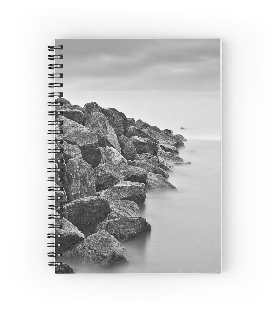 Calm Waters - Notebook #notebook #pad #stationery #paper #book #notepad #ocean #sea #blackandwhite #rocks #student