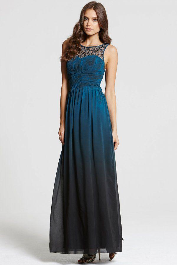 Little Mistress Teal Dip Dye Embellished Neck Maxi Dress ...
