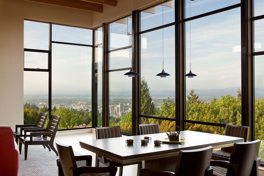 Marquam Modern - Dining. Portland, Oregon - modern house - windows - view - Designed by Seattle's COOP 15 - Photo by Laurie Black.