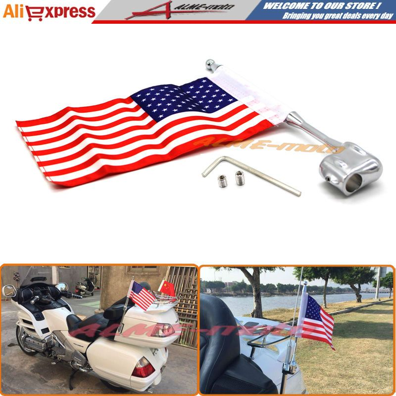 United States Motocycle Aluminum Rear Side Mount Luggage Rack Antenna Vertical Flag Pole For Honda GL1800 GL1500 Goldwing All Years