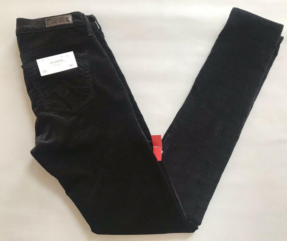 d22e923a46a8c AG Adriano Goldschmied Super Skinny Velvet Legging Jeans Size 25 Super Black  NEW #AGAdrianoGoldschmied