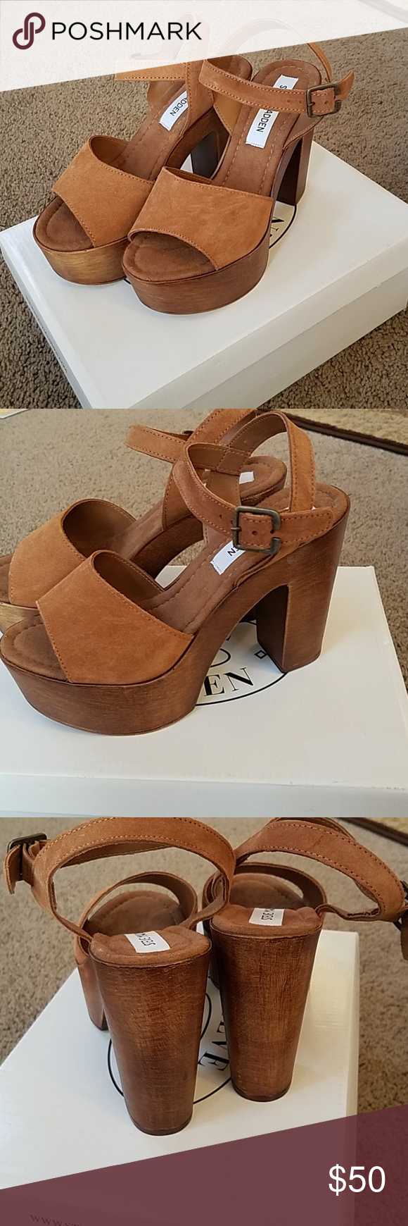 ce89dea0fc6 Beautiful Steve Madden Lulla Chestnut Suede Platform Sandals. NWT Still in  the Box 🌞 Steve Madden Shoes Platforms