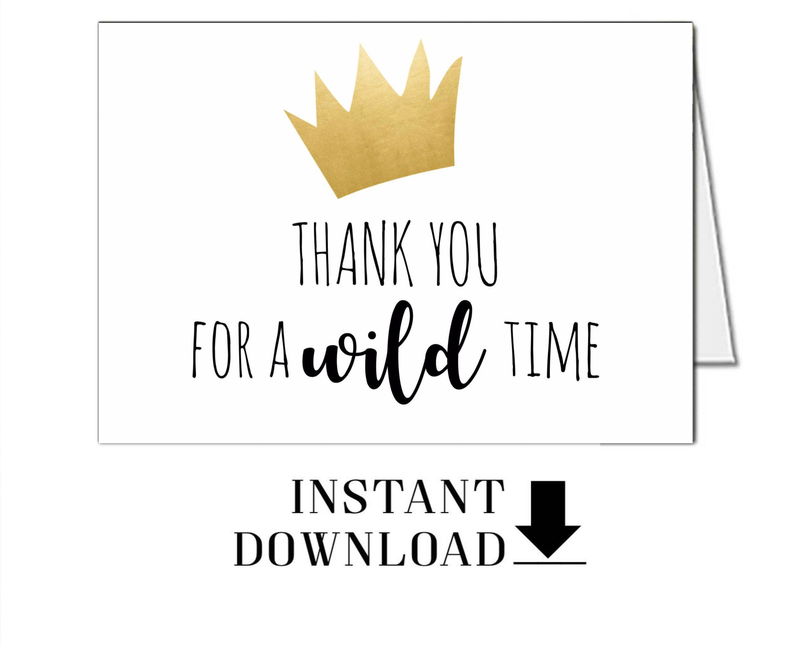 Wild Things Thank you card Instant Download Printable Card