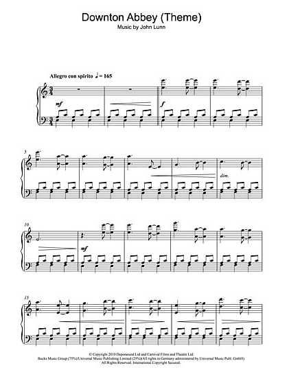 Downton Abbey sheetmusic download---This website has a lot
