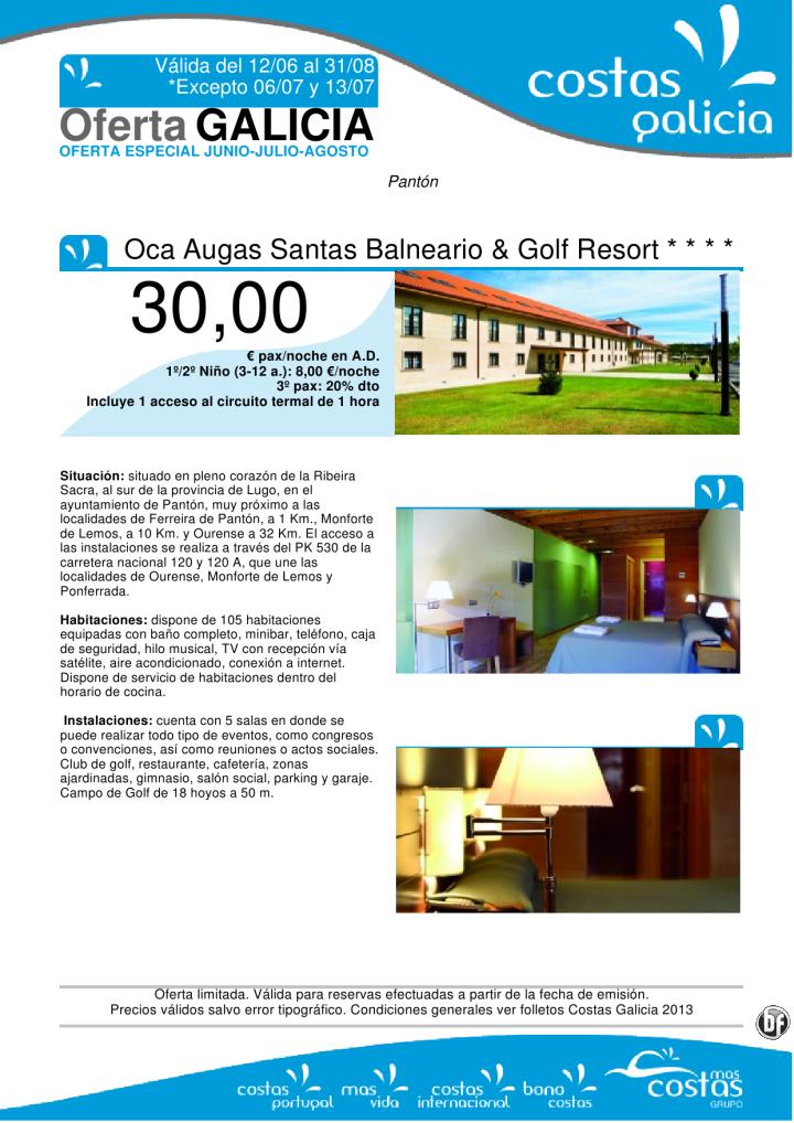 Oferta Especial Junio - Julio - Agosto. Oca Augas Santas Balneario  Golf Resort **** - http://zocotours.com/oferta-especial-junio-julio-agosto-oca-augas-santas-balneario-golf-resort/