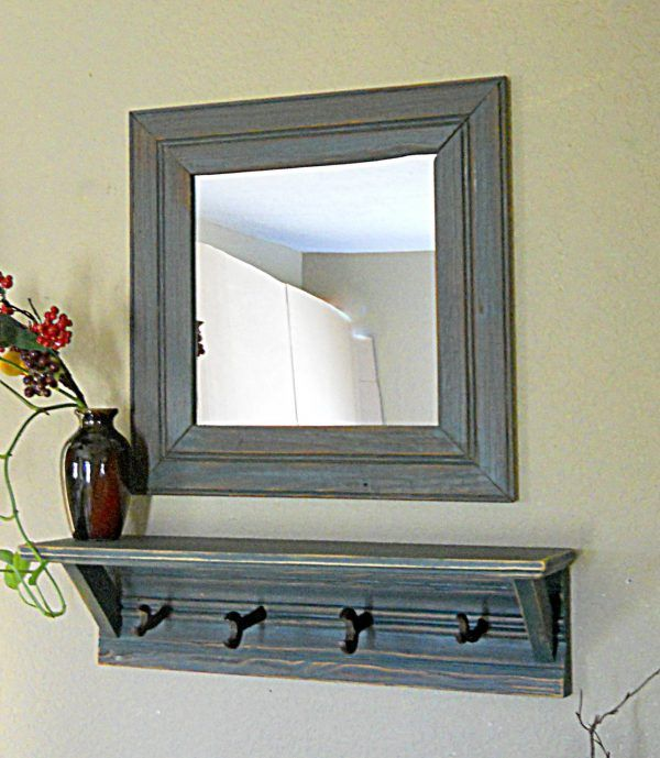Furniture Extraordinary Entry Mirror With Hooks For Distressed Wood Coat Rack Including Floating S Entryway Mirror With Hooks Mirror With Hooks Entryway Mirror