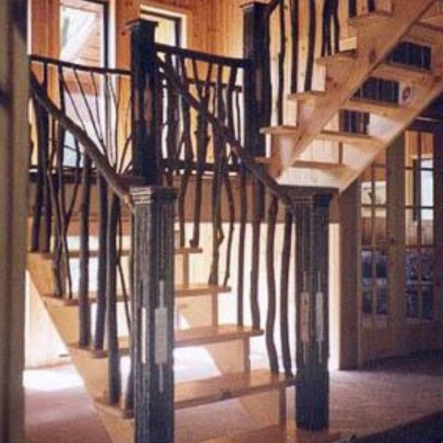stick railing railings pinterest rustic stairs. Black Bedroom Furniture Sets. Home Design Ideas