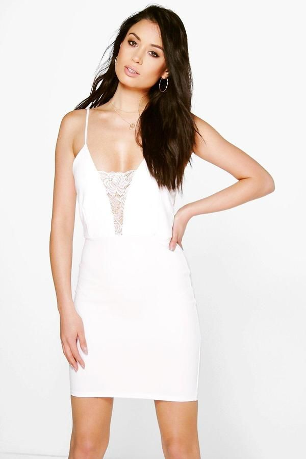 956096fe21452 boohoo Willow Crepe Strappy Bodycon Dress With Lace Trim   Products ...