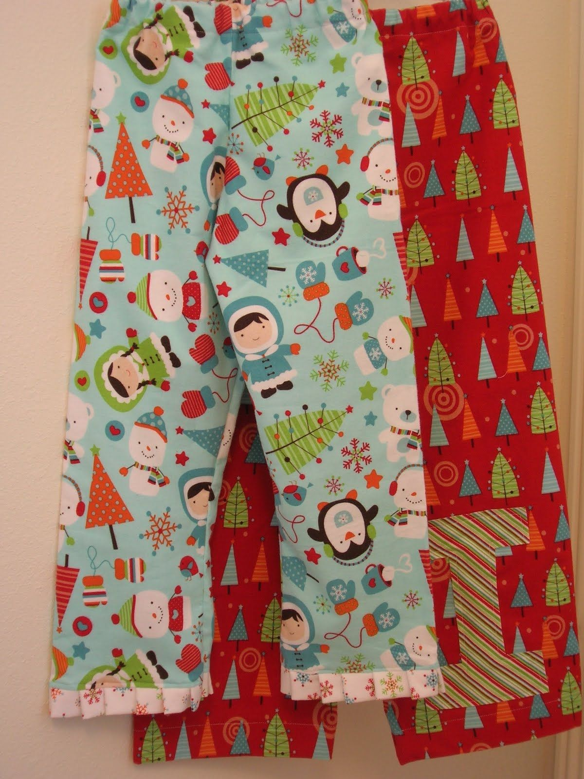 Cotton Creations: Christmas Eve Pajama Pants tutorial- size infant to 8 years