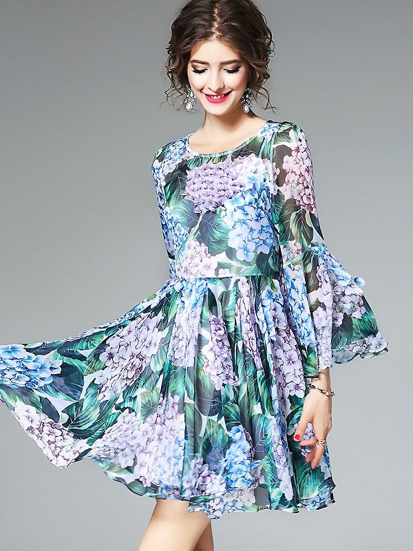166be7ebac Chic O-Neck Flare Sleeve Floral Print Mini Dress  Size  S