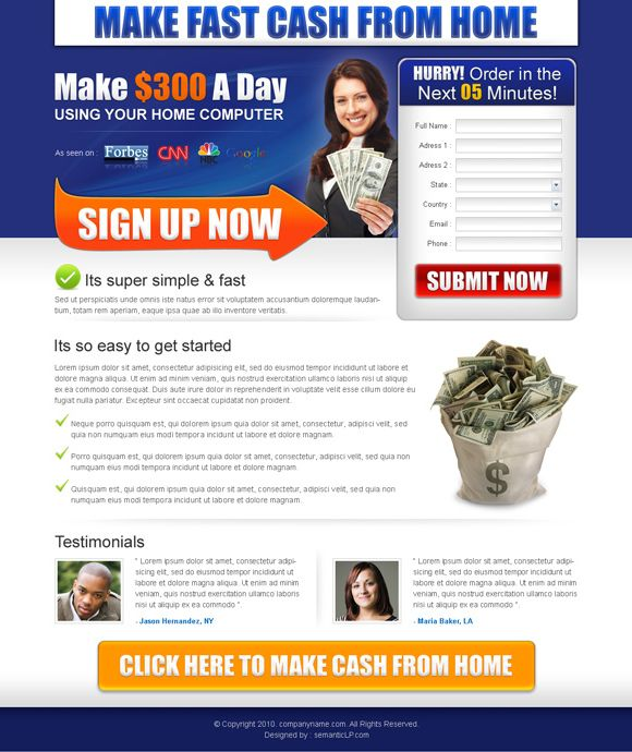 Download work from home landing page design templates examples ...