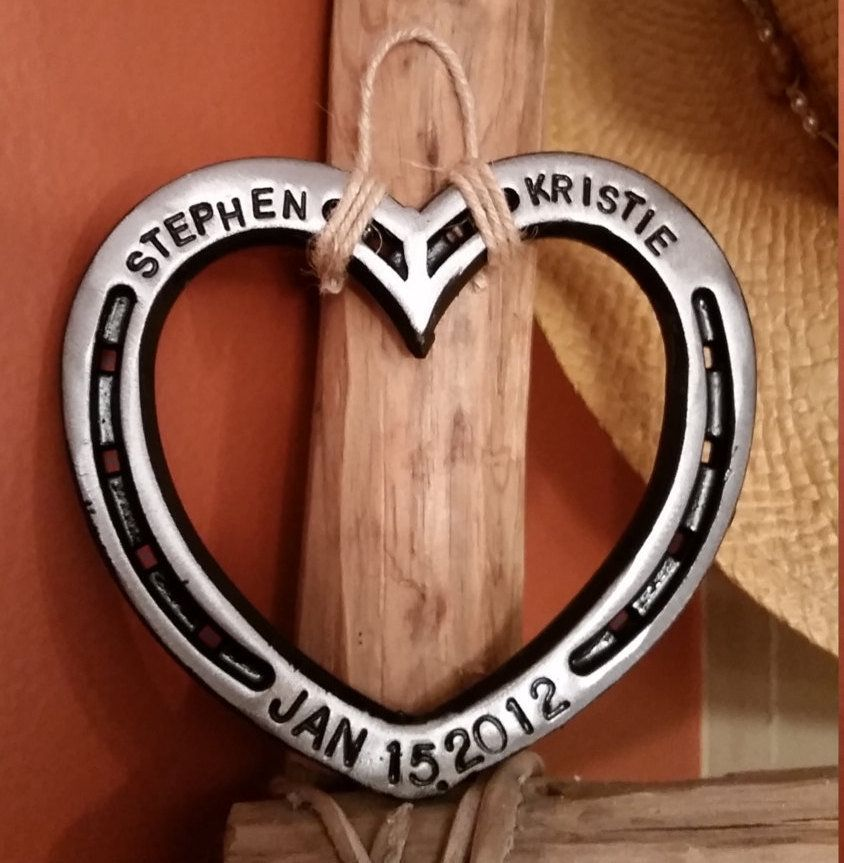 11th anniversary gift for her horseshoe heart with