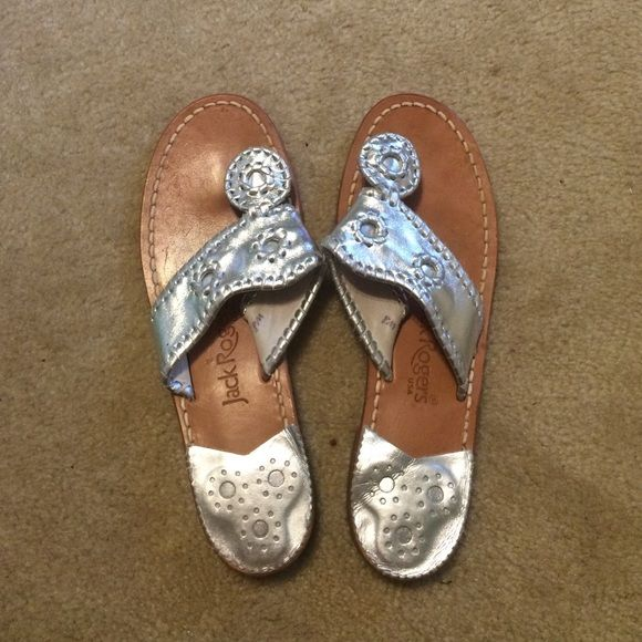 Silver Jack Rodgers Great used condition! Jack Rogers Shoes Sandals