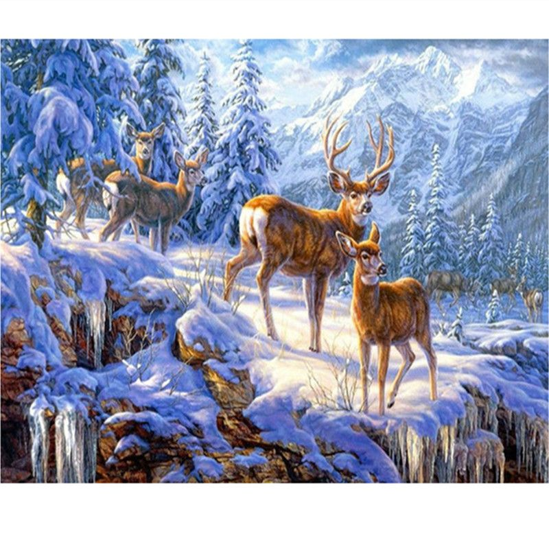 Full Drill Winter Deer 5D Diamond Painting Embroidery DIY Cross Stitch Kits Art