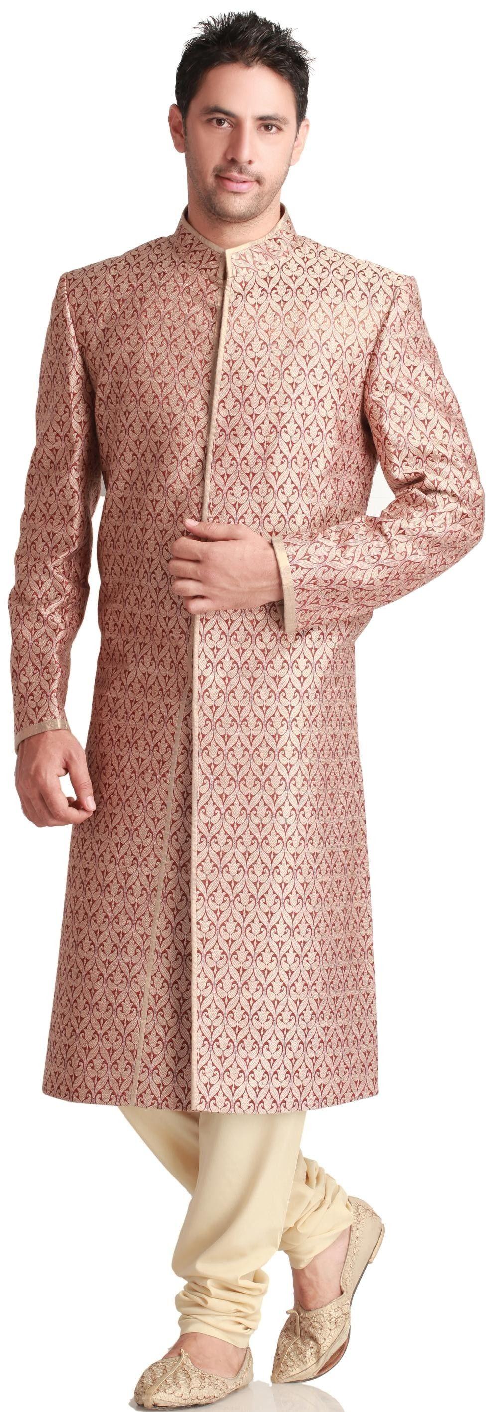 Red and Gold wedding sherwani | Indian Looks - Men | Pinterest ...